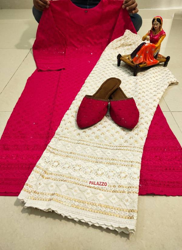 VE VPC9 Pure Cotton Beautiful Chikan Work Kurtis With Palazzo And Matching Panjabi Jutti Collection (38-48 Sizes)