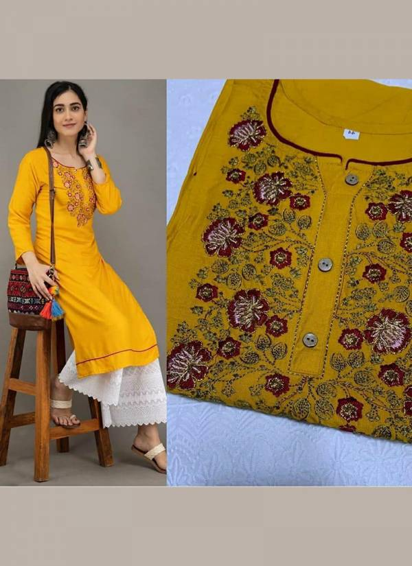 Shree Bherav Suits Series CW1-CW4 Cotton New Embroidery Work Casual Wear & Office Wear Semi Stitched  Kurtis With Palazzo Collection