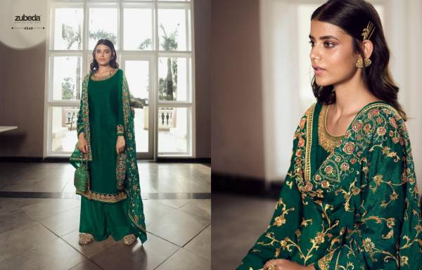 Avani Chinnon With Heavy Embroidery Worked Occasional Wear Salwar Suit Collection
