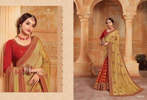 Kalista Fashion Sangeet Vol 3 Series 29753-29758 Fancy With Embroidery Work Party & Wedding Wear Sarees Collection
