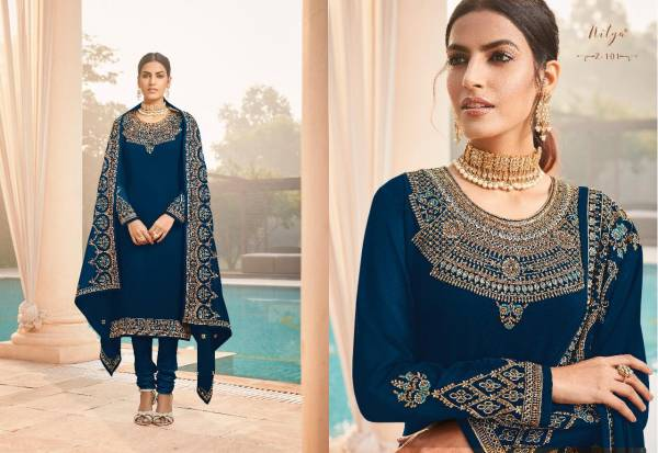 LT Fabrics Zyrah Series Z-101 - Z-105 Georgette With Heavy Embroidery Work Wedding Wear Churidar Suits Collection