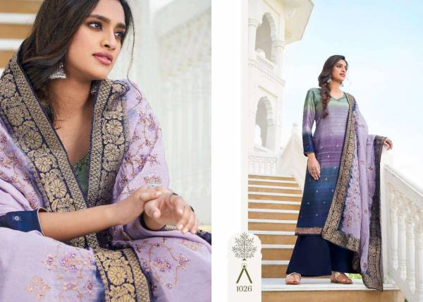 Mantara Anika Modal Satin Silk Digital Print Embroidered Work Designer Salwar Suits Collection