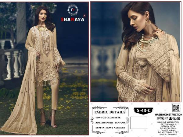 Shanaya Fashion Rose S 43 Faux Georgette Khatali Hand Work Pakistani Suits Collection