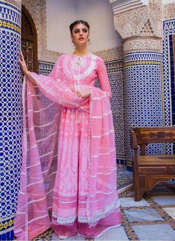 M3 Fashion Sobia Nazir Vol-2 Pure Jam Satin Cambric Cotton Net With Heavy Embroidery Work Pakistani Salwar Suit Collections