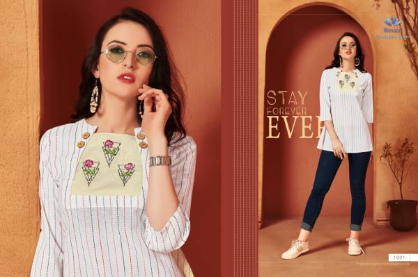 Venika Creation Sasya Series 1001-1006 Premium Cotton Blend With Embroidery Work New Designer Casual Wear Tops Collection