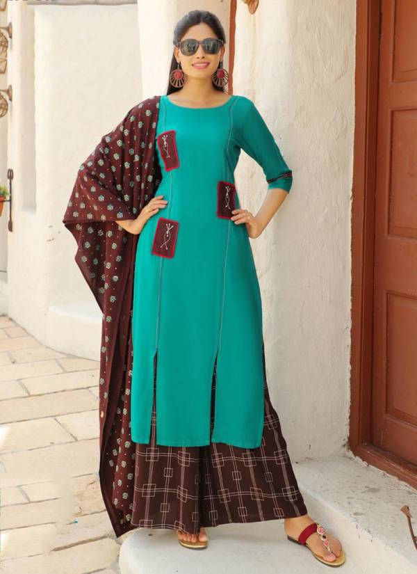 Aradhna Calender Girl Vol 2 Series 2001CG-2009CG New Designer Liva Rayon With fancy Embroidery Work Kurti Palazzo With Dupatta Collection