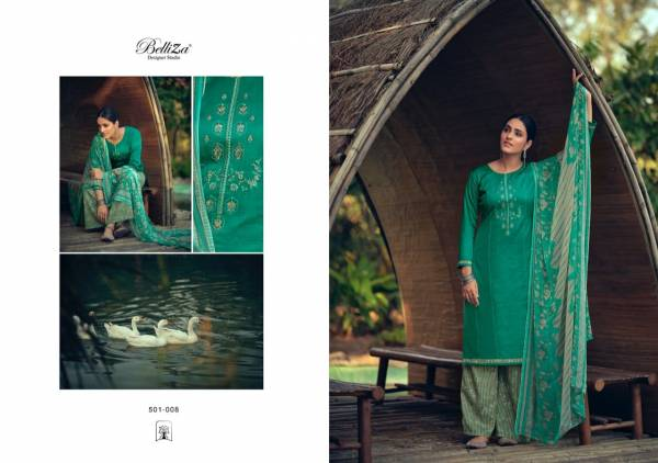 Belliza Nazar E Patiyala Vol 5 Series 501-001 - 501-010 Pure Heavy Jam Cotton With Kashmiri Embroidery Work Latest Designer Palazzo Suits Collection