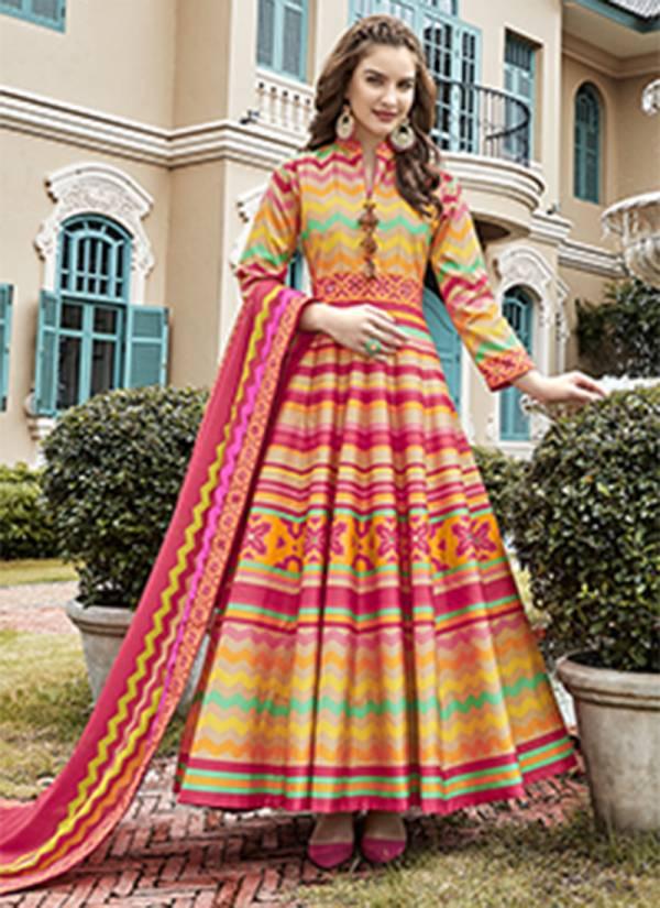 An Bazaar Virasat Pure killer Silk Digital Printed Designer Anarkali Suit Collection