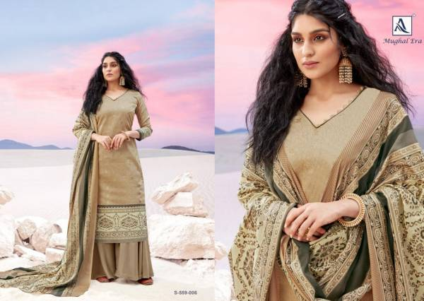 Alok Suit Mughal Era Pure Jam Designer Gold Printed Palazzo Suits Collection