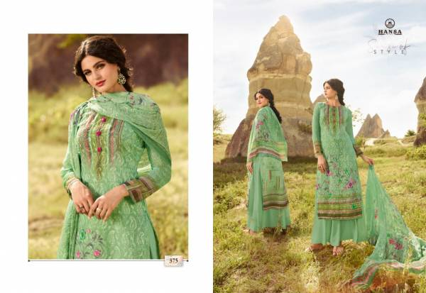 Hansa Softy Georgette Digital Print With Aari Work Palazzo Suit Collections