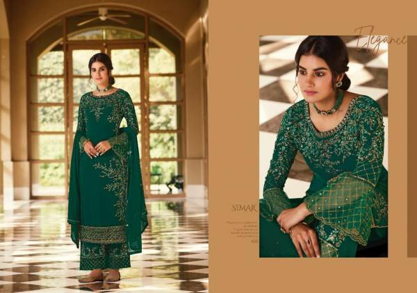 Glossy Zaina Pure Georgette Embroidery With Swarovski Work Festival Wear Palazzo Suits Collection