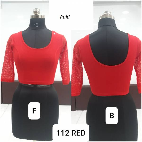 Ruhi Fashion 112-01 - 112-022 Cotton Lycra Stretchable With Full Net Slive Readymade Blouse Collection