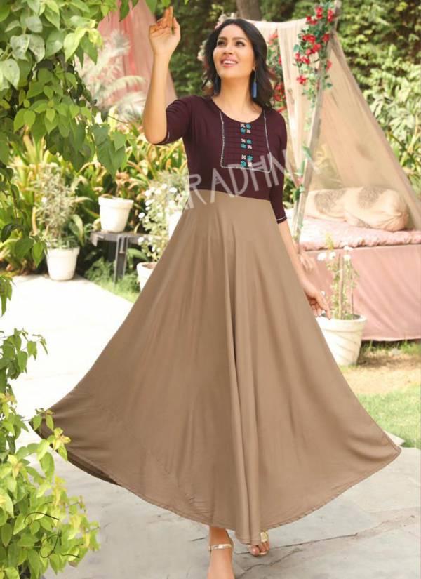 Aradhna Fashion Fabulous Rayon Heavy Embroidery Work Regular Wear Designer Kurti Collection