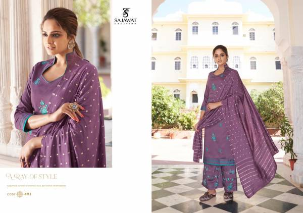 Sajawat Creation Roohi Vol 2 Pure Modal Viscose Fancy Designer work Readymade Palazzo Suit Collection