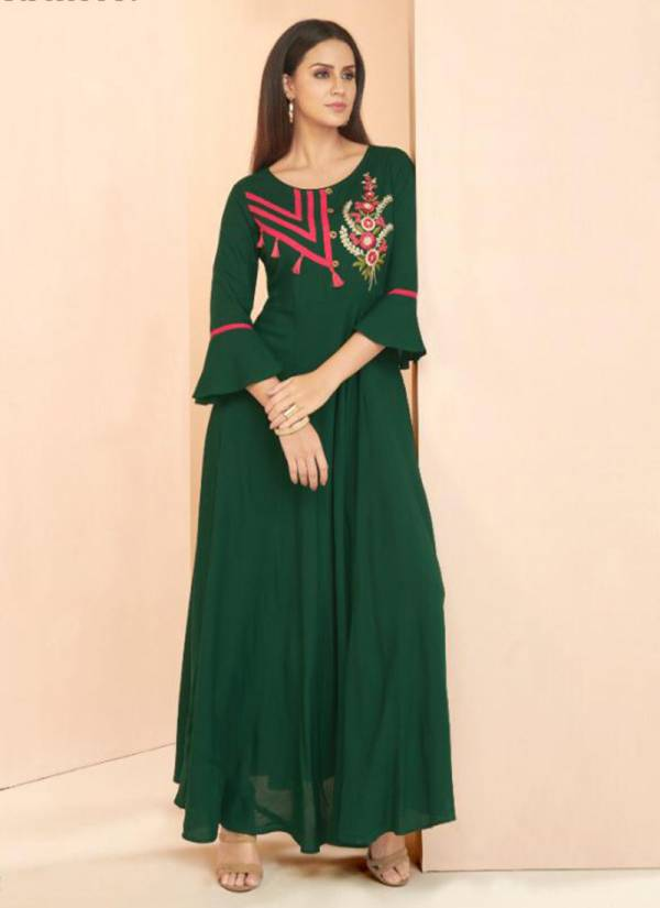 Vardan Designer Gulnaz Vol 3 Series 6021-6028 Heavy Rayon With Embroidery Work New Designer Long Kurtis Collection