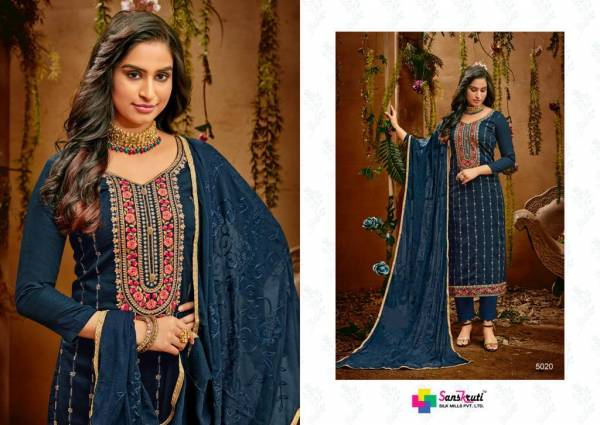 Sanskruti Heritage Jam Silk With Embroidery Sequence Work Straight Suits Collection