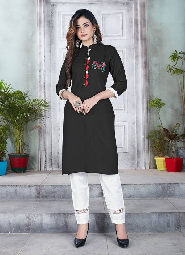 Series 116-123 Cotton & Rayon Embroidery Work Daily Wear Latest Designer Kurtis With Pants Collection