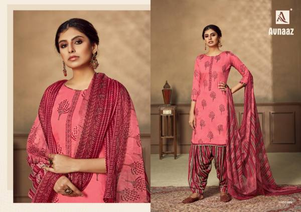 Alok Suit Avnaaz Series 637-001 - 637-008 Pure Jam Digital Style Foil Print With Neck Embroidery Work Regular Wear Patiyala Suits Collection