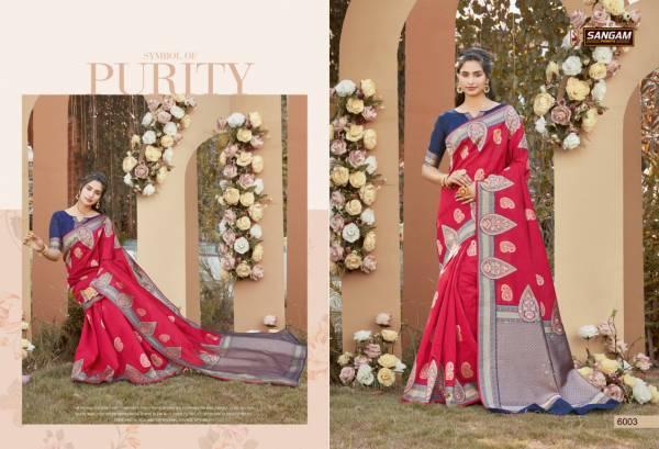 Sangam Prints Sunaina Silk Fancy Digital Printed Work Festival Wear Designer Sarees Collection