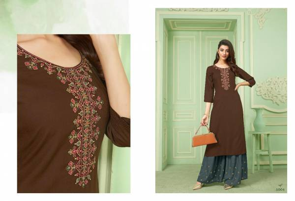Sweety Fashion Della Vol 5 Rayon With Fancy Work Kurtis With Sharara Collection