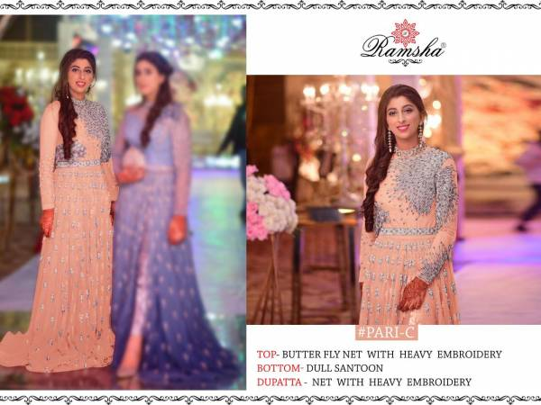 Ramsha Pari Net Heavy Embroidery Work And Hand Work Party Wear Gown Collection