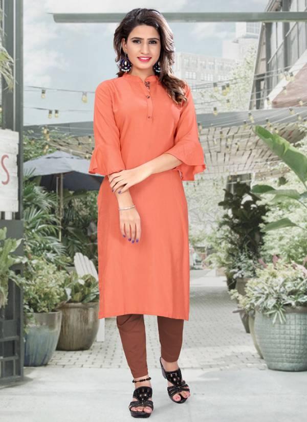Neha Fashion Niya Series 1001NIYA-1009NIYA Rayon Plain Office Wear Fancy Kurtis Collection