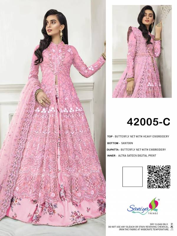 Saniya Trendz Series 42005A-42005D Eid Special Butterfly Net With Heavy Embroidery Work Party Wear Pakistani Suits Collection