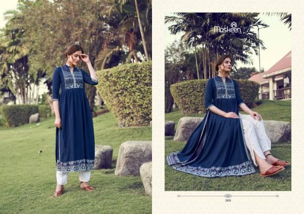 Maisha Monsoon Vol 2 Lucknowi Heavy Rayon Festival Wear Long Kurtis With Pants Collection