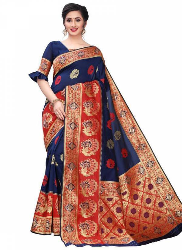 Naree Creation Damini Soft Banarasi Silk Jacquard Weaving Border Work Party Wear Saree Collections
