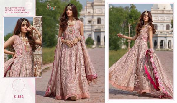 Shree Fab Series S-182 Butterfly Net Emroidery Work Designer Anarkali Suits Collection