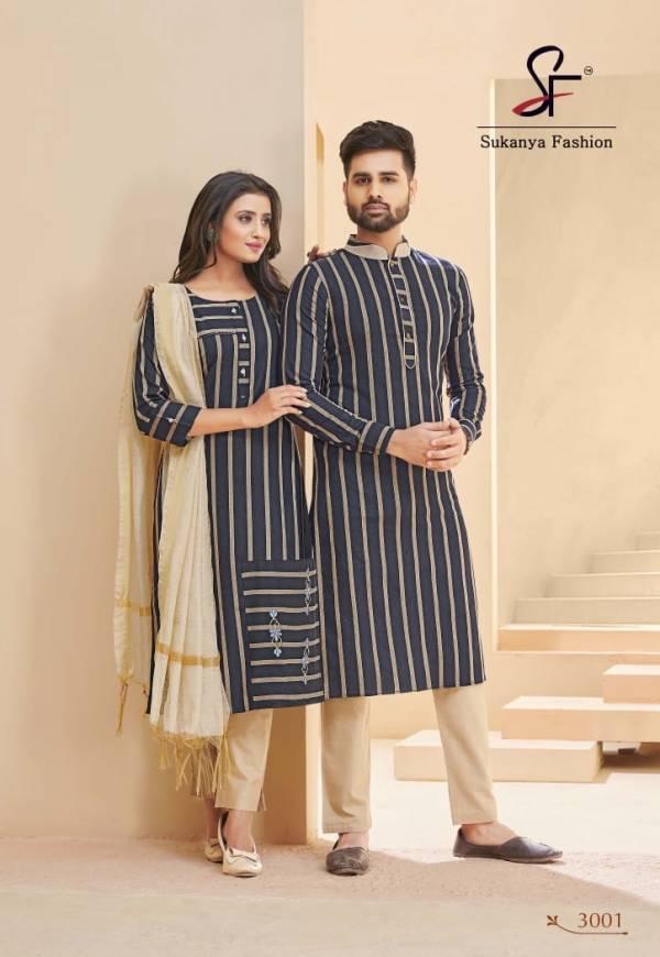 Banwery Royal Couple V-3 Pure Cotton Weaving Jari Stripe With Embroidery Work Salwar Suit And Kurta pajama Couples Set Collection