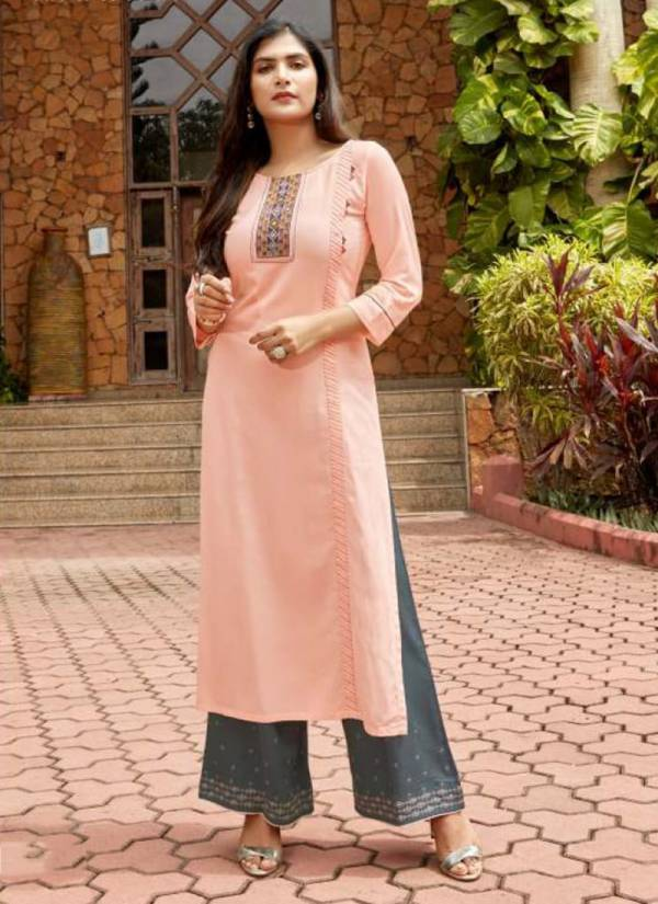 Wooglee Celebration Vol 7 Series 1046-1051 Rayon Anti Microbial Embroidery Work & Hand Work Long Kurtis With Palazzo Collection