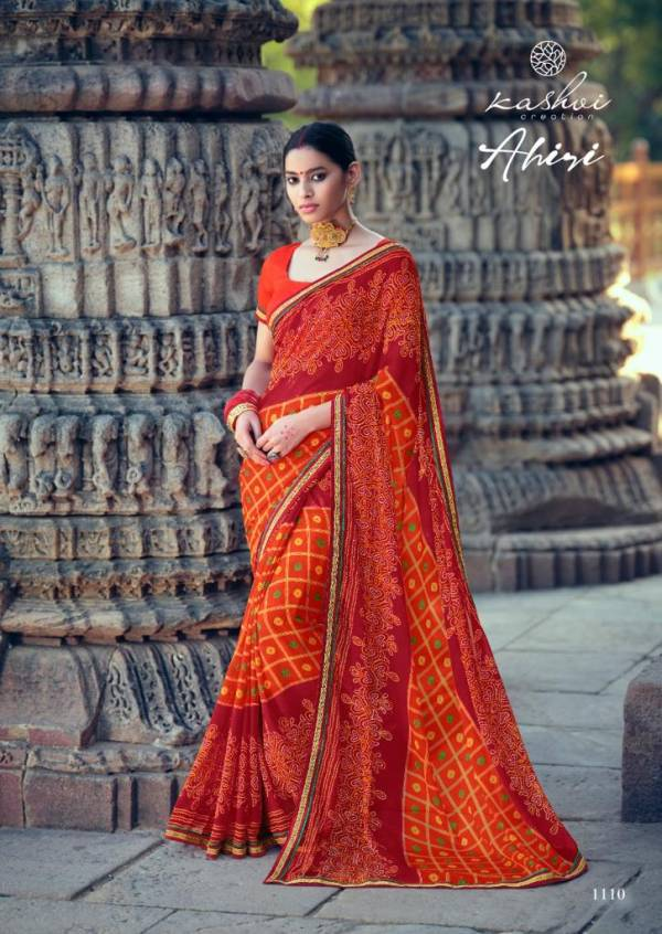 Kashvi Creation Aahiri Chiffon Casual Wear Sarees Collection