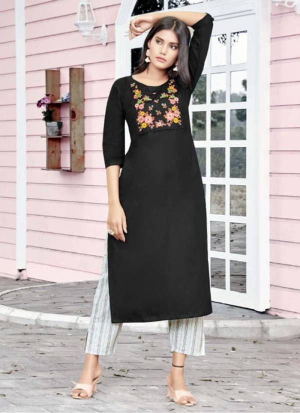 Tips & Tops Mannat Vol 6 Series 01-06 Heavy Rayon Flex Embroidery Work Designer Long Kurtis With Palazzo Collection