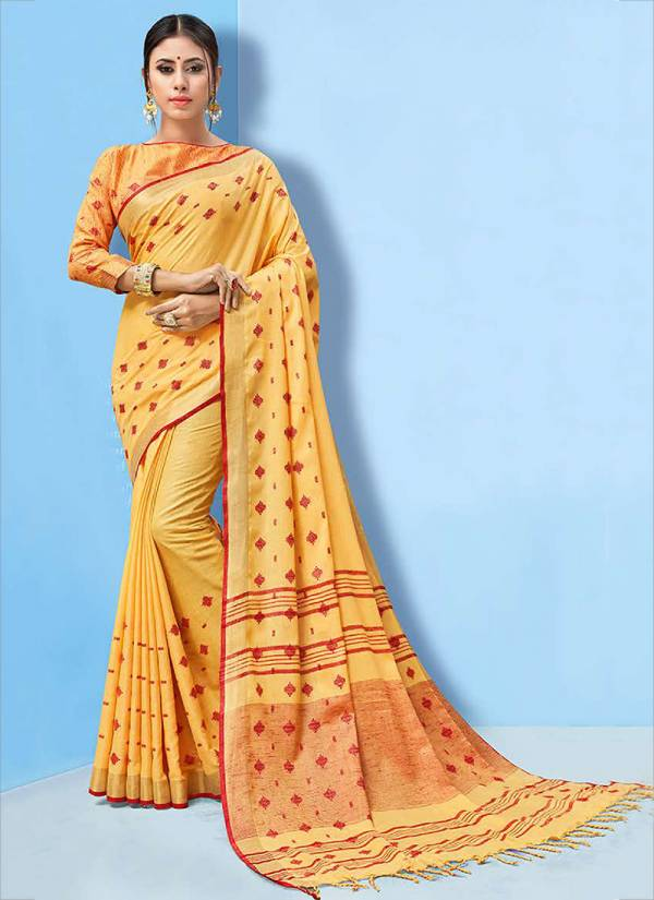 Sangam Series Sglnh1001-Sglnh1008 Linen Handloom Traditional Look New Fancy & Trendy Linen Cotton Sarees Collection
