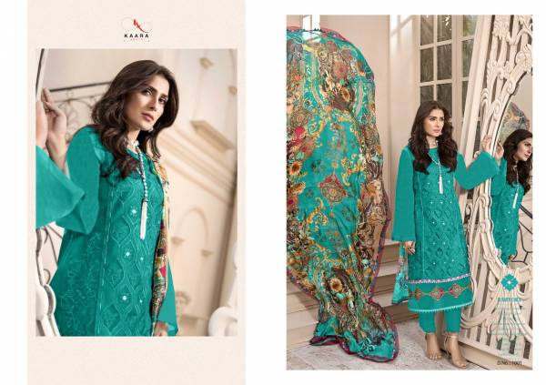 Kaara Suits Mahe Noor Gold Series 1001-1004 Pure Cotton Heavy Schiffli Work With Embroidery Pacth Work Designer Pakistani Suits Collection