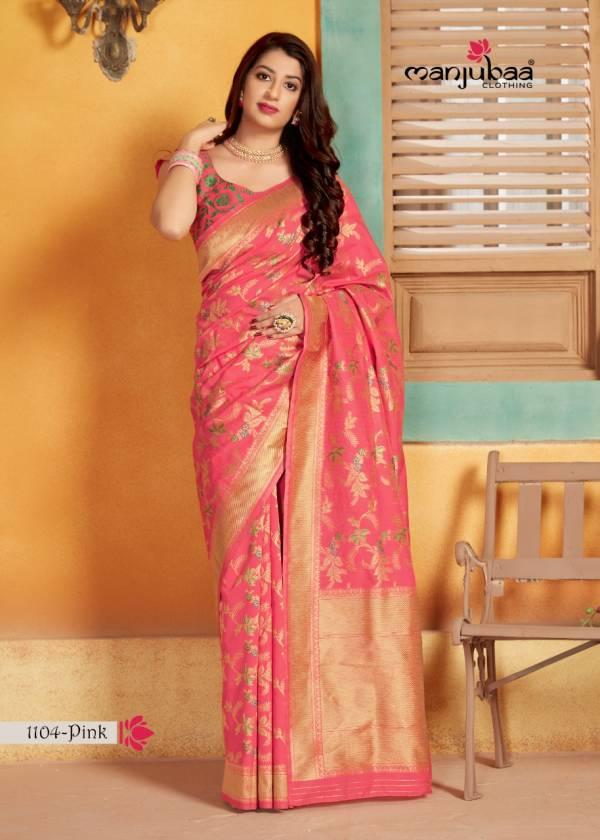 Manjubaa Lotus Vol 11 Series 1104-1104D Pure Silk Weaving Designer Reception Wear Sarees Collection