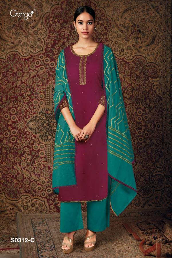 Ganga Elina 312 Pure Habotai Silk With Embroidery Work Festival Wear Palazzo Suits Collection