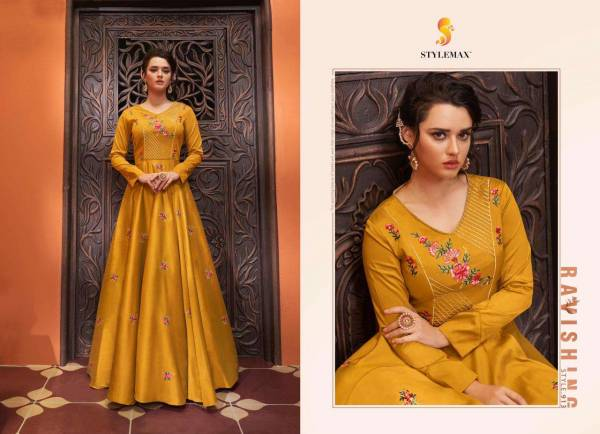 Stylemax Sapphira Vol 1 Heavy Muslin Cotton With Stylish Embroidery Work Gowns Collection