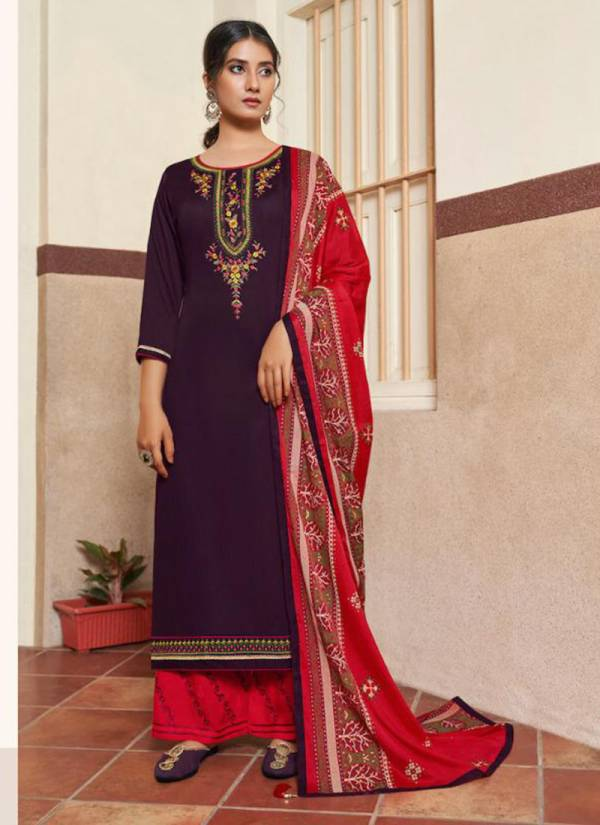 Kalarang Butterfly Vol 3 Series 1911-1914 Jam Silk Cotton With Embroidery Work New Fancy Regular Wear Palazzo Suits Collection