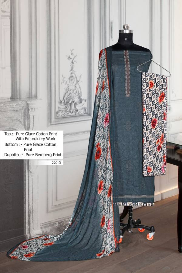 Bipson 220 Colours Series 220A-220D Glace Cotton Designer Printed With Embroidery Work Daily Wear Dress Material Suits Collection