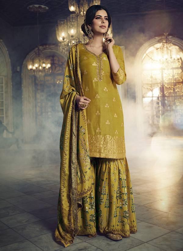 Maisha Maskeen Vol 8 Jacquard Silk  Embroidery Work Wedding Wear Designer Plazzo Suits Collection