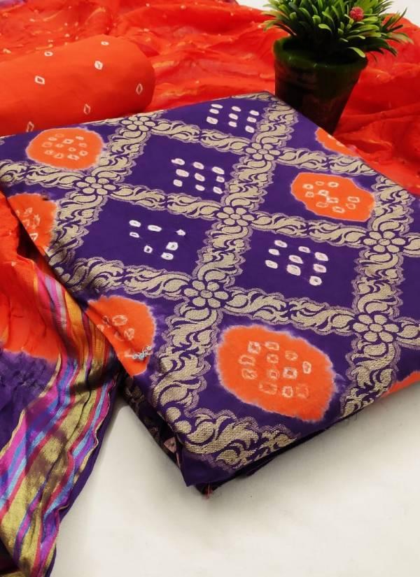 Nakshatra Fashion Studio Bandani Dress Vol 4 Series 1-10 Satin Cotton Handicrafts With  Zari Weaving Checks Work Bandhej Suits Collection