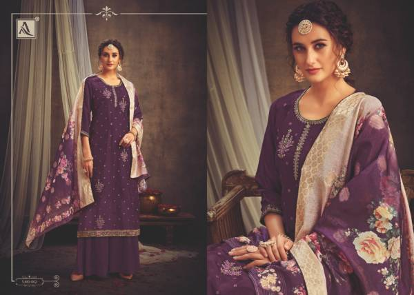 Alok Suit Niraali Series 485-001 - 485-008 Viscose Upada With Fancy Embroidery & Diamond Work Designer Palazzo Suits Collection