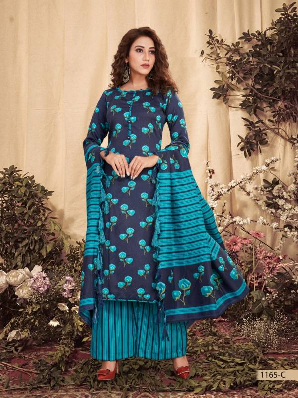 Bipson Preet Series 1165A-1165D Pure Pashmina Print Style Designer New Winter Season Suit Collection