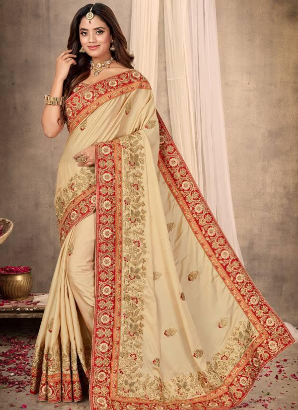 Nari Fashion Maharani Series 2831-2841 Pure Satin Heavy Resham & Coding With Zari Khatli Embroidery Work Wedding Wear Sarees Collection
