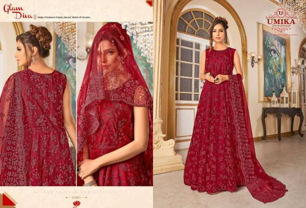 Umika Designer Diya Series 51001-51011 Heavy Net Embroidery Work Stylish Look Party Wear Gowns With Dupatta Collection
