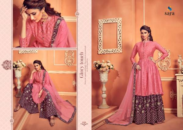 Sara Trendz Navya Series 9180-9183 Pure Chinnon With Heavy Embroidery & Diamond Work Latest Designer Sharara Suits Collection