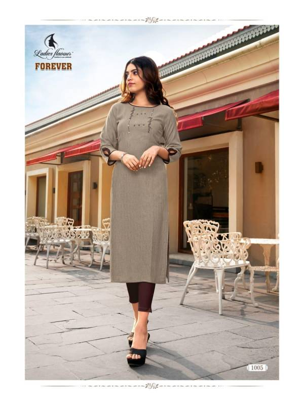 Ladies Flavour Forever Rayon Weaving Pattern Hand Work Kurtis Collection