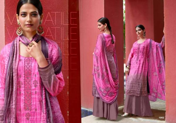 Sweety Fashion Heley Series 1001-1008 Pure Satin With Thread Work Daily Wear New Designer Palazzo Suits Collection